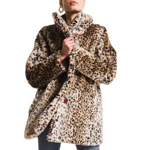 WHITE CROW leopard print fur Chloe coat XS